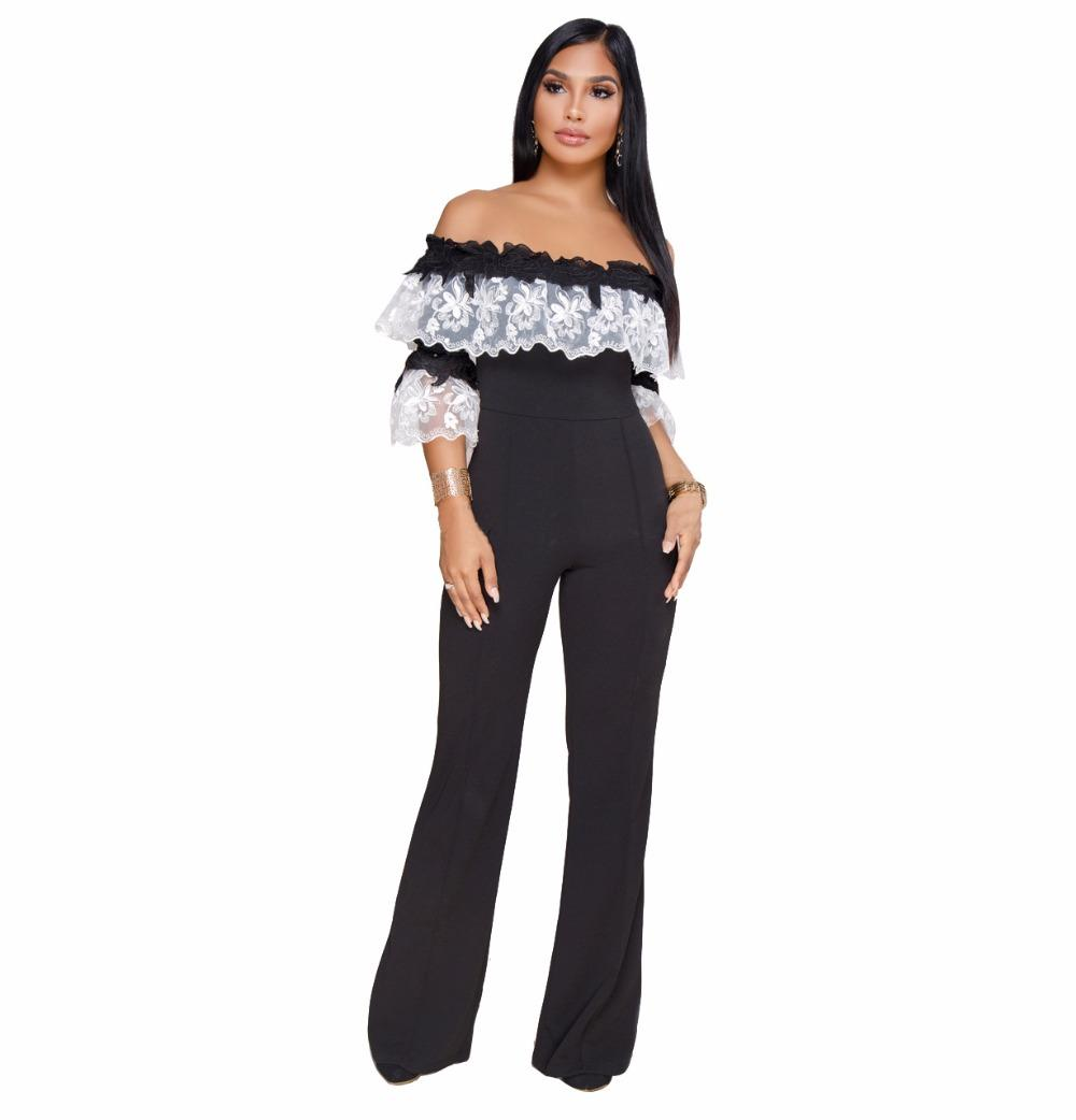 1bb2c6fb343 2019 Flower Embroidery Half Sleeve Wide Leg Jumpsuit Women Slash Neck Off  Shoulder One Piece Romper Plus Size Long Overall Black Blue From Vikey16