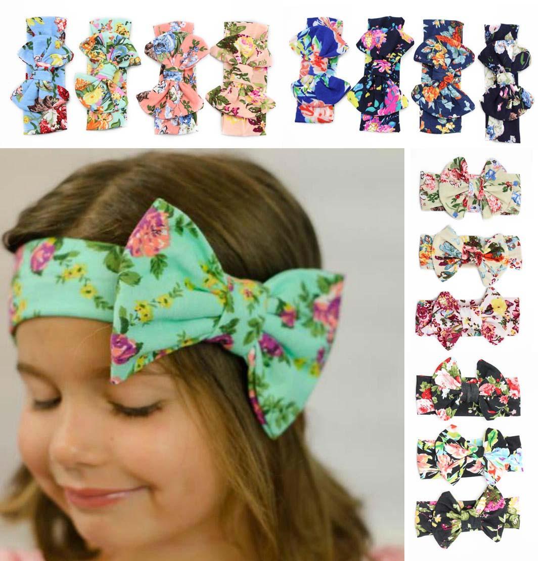 08cf398750d74c Baby Mädchen Stirnbänder Baby Baumwolle Blume Bowknot Stirnbänder Mädchen  elastische Haarbänder Haarschmuck Baby Kopfbedeckung viele Arten