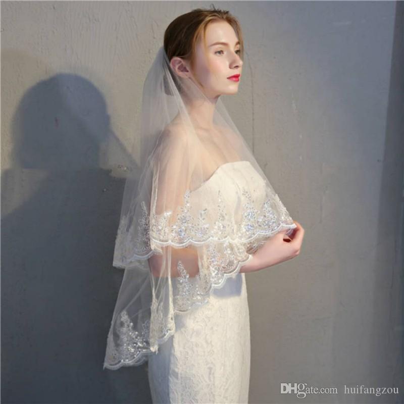 Duas Camadas Véus De Noiva Cotovelo Comprimento Lace Applique Tulle Net Véu Branco Acessórios Do Casamento Da Noiva Véus