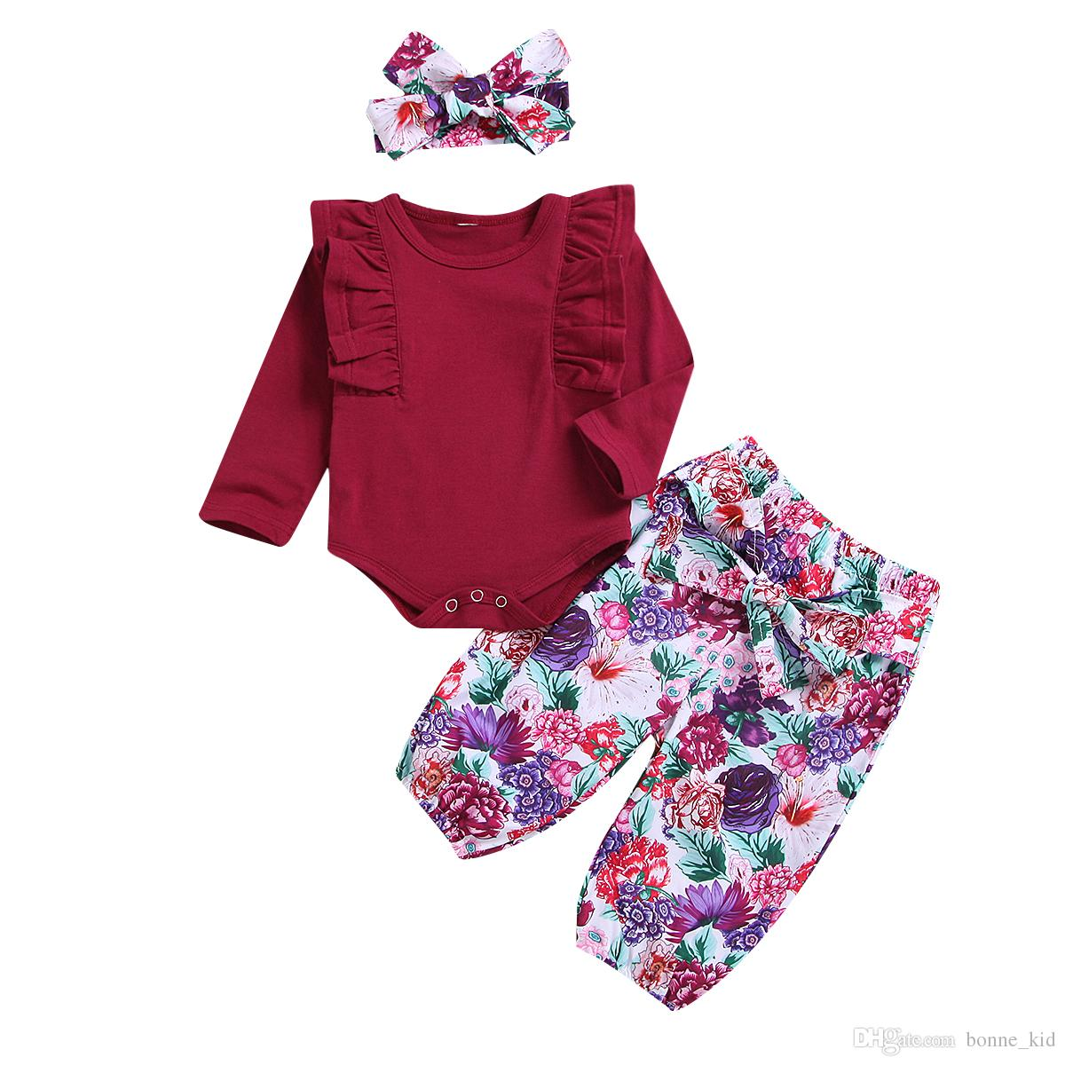 c875cc08dff1 Newborn Baby Girl Flower Clothing Crimson Romper+pants+headband Set ...