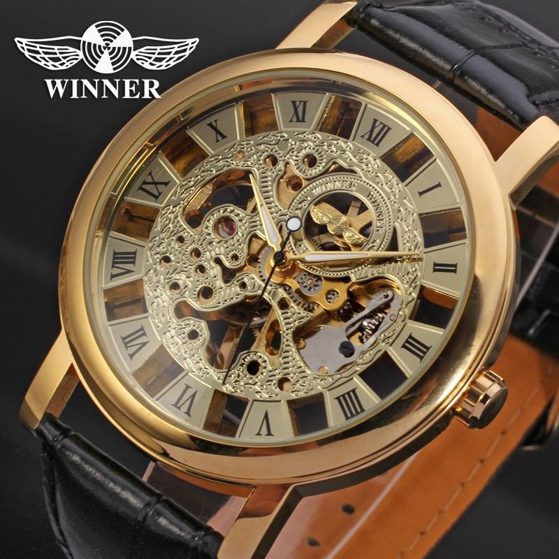 Watches Men's Watches The Cheapest Price Winner Men Dress Fashion Automatic Mechanical Watch Leather Strap Super Roman Number Skeleton Dial Cool Black Design Wristwatch
