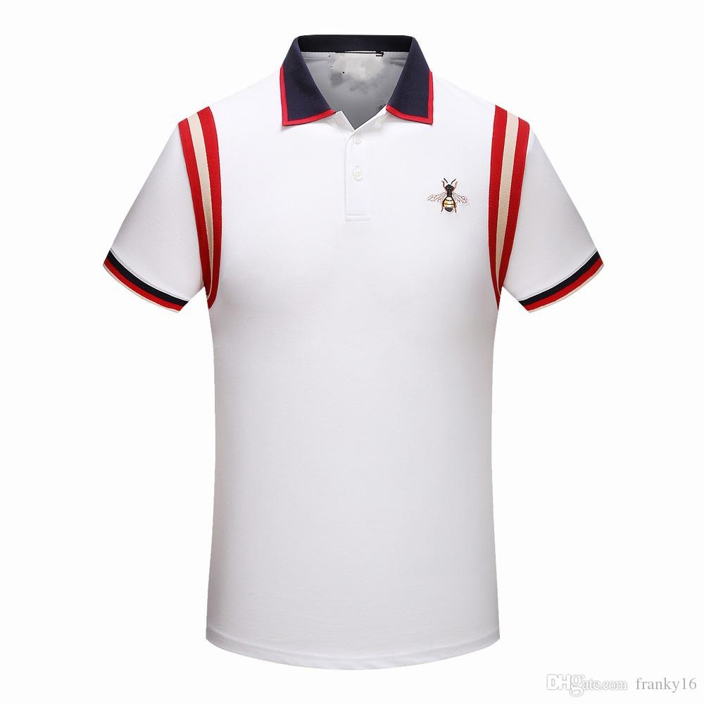 525527cc 2019 Summer Luxury Brand Design Lapel Short Sleeve Polo Shirt Men Small Bee  Embroidery Red Stripe Patchwork Poloshirt Size M 3XL From Franky16, ...