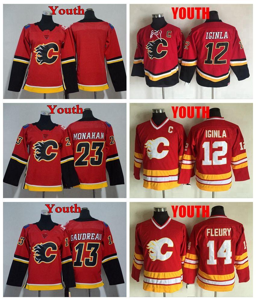 sale retailer 2d214 3e9eb 2018 Youth Calgary Flames Hockey Jersey KIds 12 Jarome Iginla 14 Theoren  Fleury 13 Johnny Gaudreau 23 Sean Monahan Boys Blank Hockey Shirts