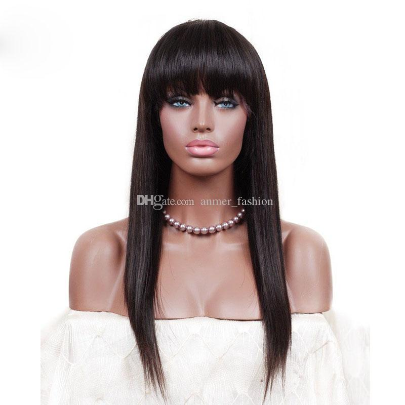 Women S Best Grade Aaa Bangs 100% Unprocessed Remy Virgin Human Hair Long  Natural Color Natural Straight Full Lace Cap Wig For Lady Monofilament Wigs  ... e3bb9137e2