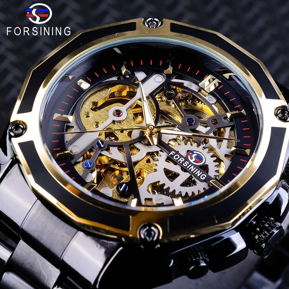 x Forsining Steampunk Style Skeleton da uomo Orologi Black Automatic Watch da uomo Top Brand Luxury Luminous Hands Orologio da polso Mannen