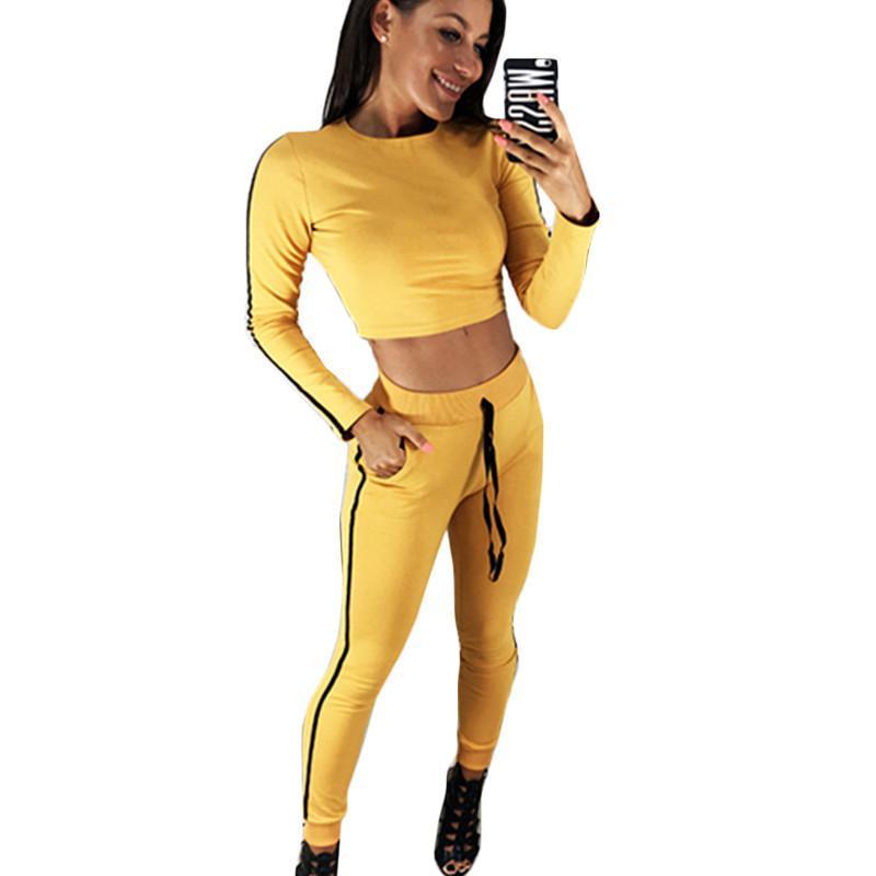 Großhandel Herbst Zweiteiler Frauen Trainingsanzug 2018 Gestreiftes Crop  Top Und Hose Set Sportswear 2 Stück Set Anzug Lässige Pullover Sweatshirt  Von ... 433276fdc2