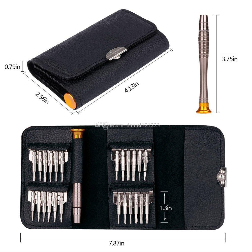 25 in 1 Screwdriver Set, COSVE Mini Precision Screwdriver Tool Set for PC, Glasses, Mobile Phone, Laptop, Watch, RC Quadcopter Drone in Leat