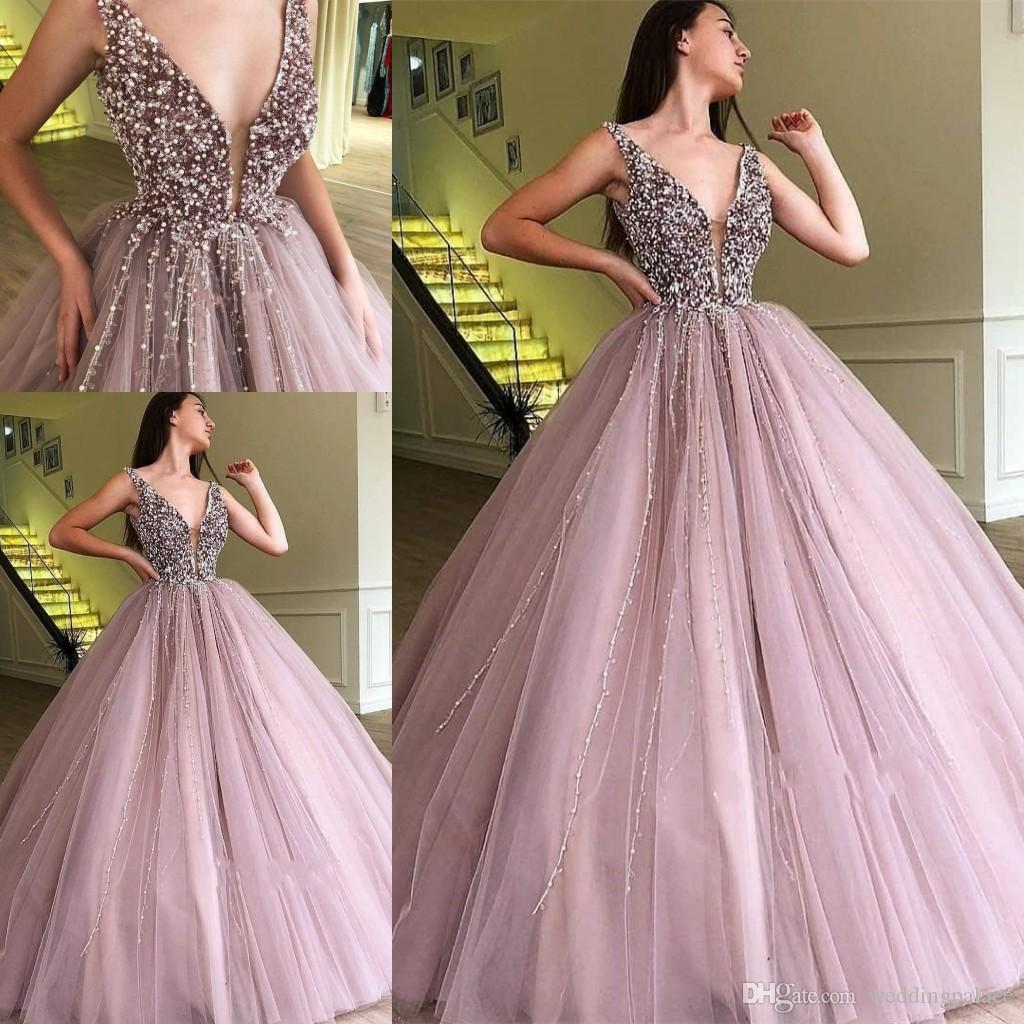 6d88f23d2c3b Beautiful V Neck Beaded Prom Dress 2019 Ball Gown Tulle Prom Gowns  Quinceanera Dresses Pearls Tassel Tiered Skirts Elegant The Best Prom  Dresses Tie Dye ...