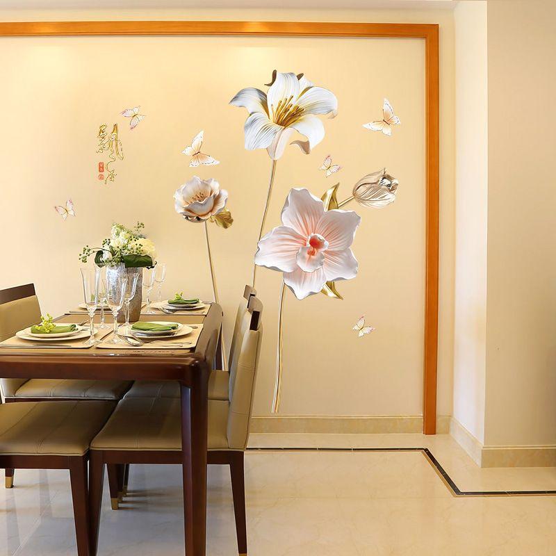 Elegant Orchid Emboss Wall Stickers DIY Flower Plant Wall art Mural for Living Room Bedroom Home Decor TV Embossed Wallpapepr