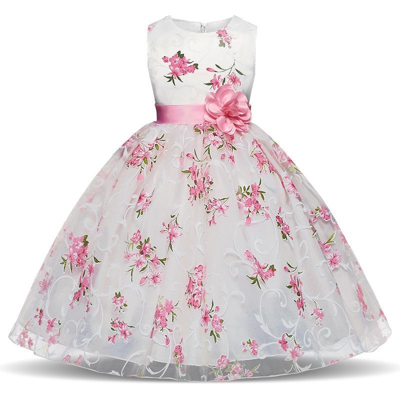 2018 Flower Children Wedding Dress Printed Dress Children\'S Party ...