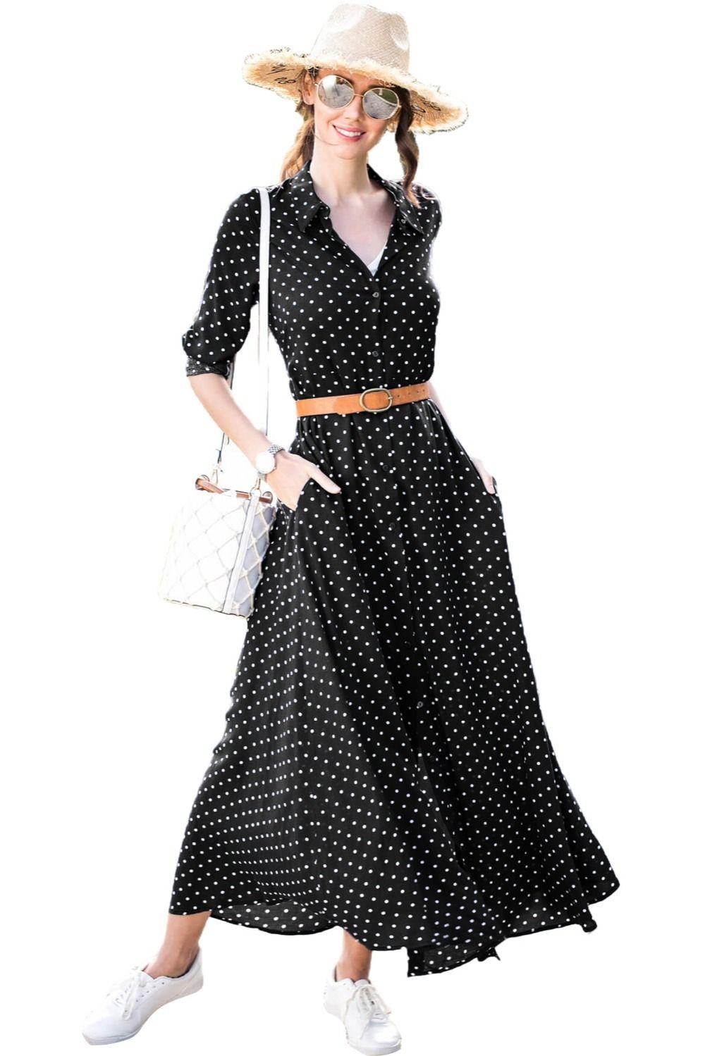 3df5470e11 New Autumn Long Sleeve Long Dresses Women Black Polka Dot Button Down V  Neck Maxi Shirt Dress With Belt Vestidos LC610335 Knit Dresses For Women  Dress ...