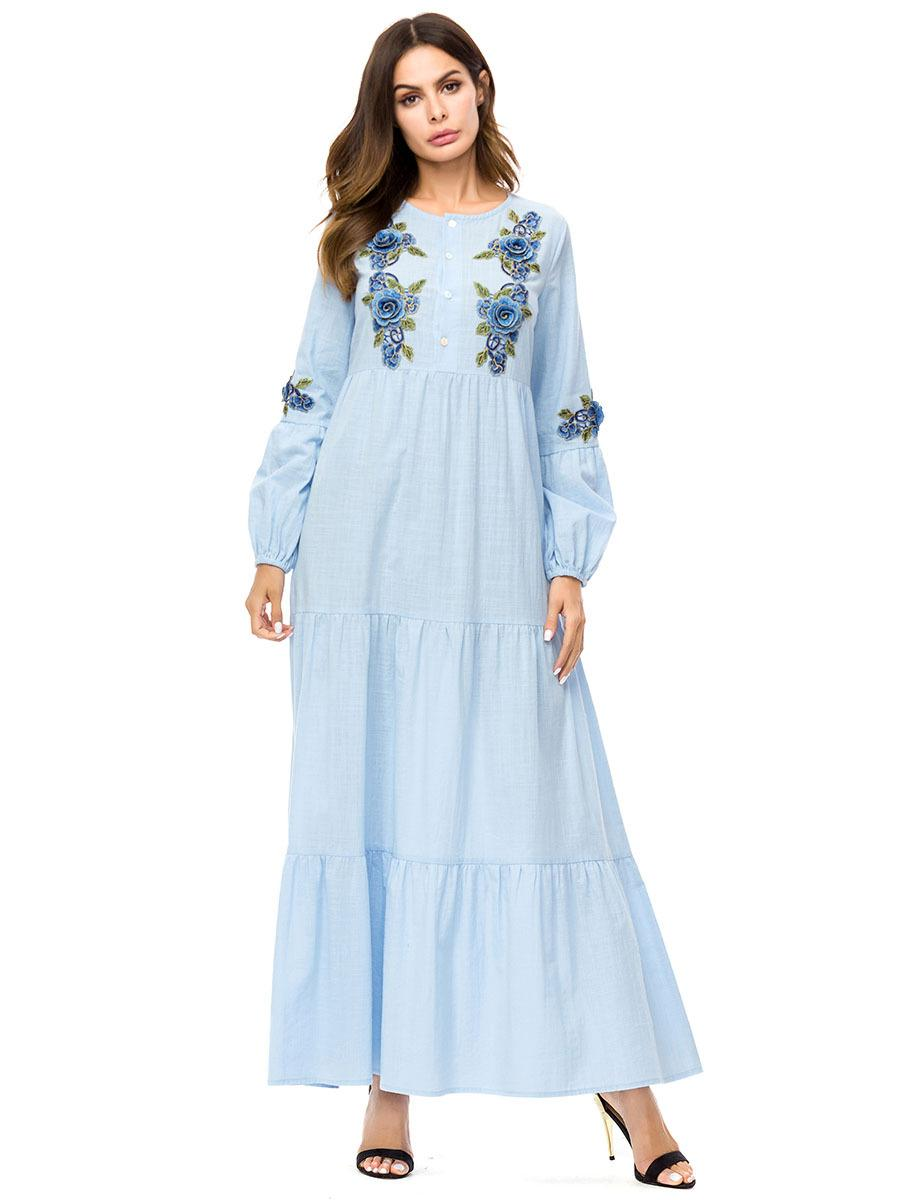 2019 187236 Kaftans Autumn Dress Baju Muslim Robes Loose Big Swing