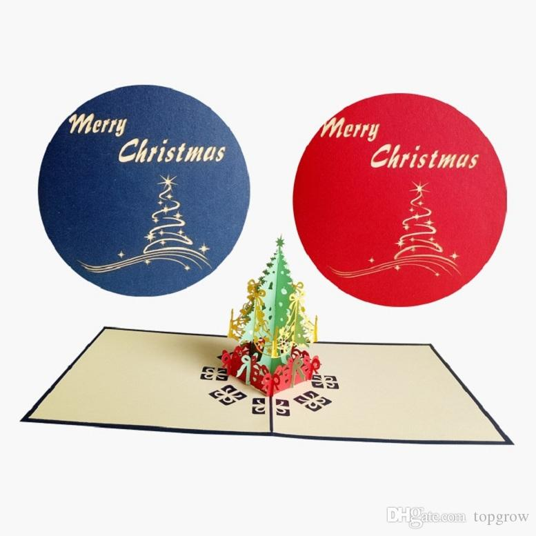 Christmas Bday Cards.Christmas Greeting Card 3d Christmas Tree Creative Handmade Greeting Card Christmas Paper Carving Greeting Cards Wholesale H0183 1