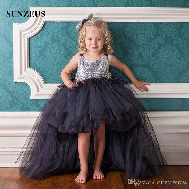 ab2785f9cf0bb High Low Party Dress For Children Short Front Long Back Black Tulle Kids  Formal Wear With Feathers Silver Sequins Bodice Evening Gown
