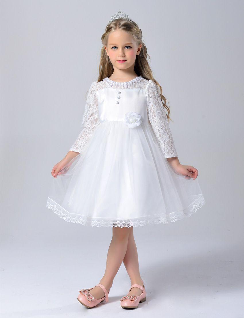 b9773a81b Compre Vestido De Niña Elegante Bebé De Manga Larga Princesa Vestido De Encaje  Para Niñas Fiesta Ropa De Boda Vestidos De Algodón Para Niños Para 3 12Y A  ...