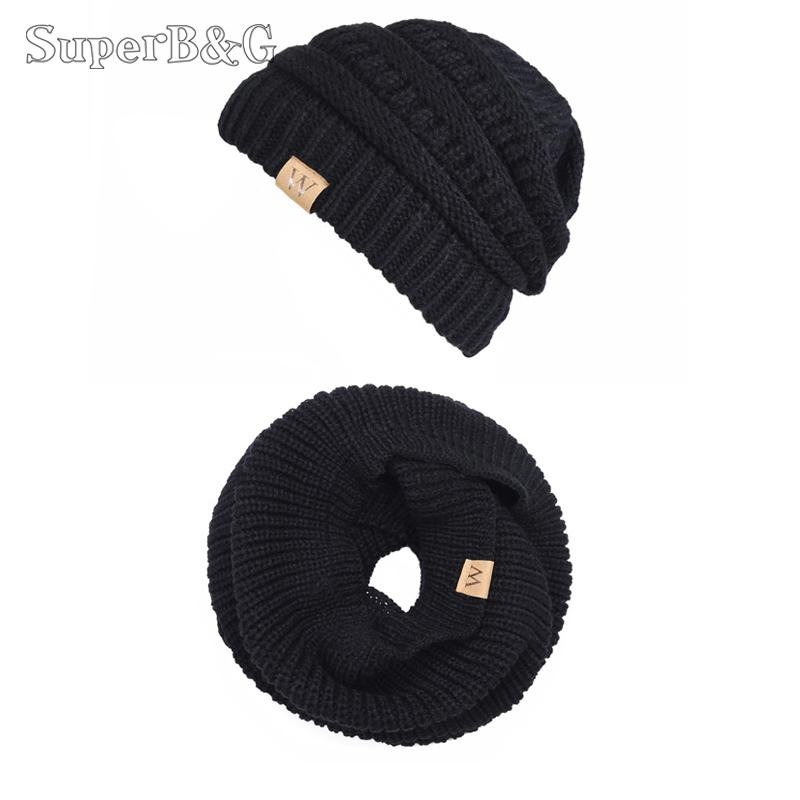 9e96f92ca SuperB&G Fashion Warm Winter Knitted Scarf Hat 2 Pieces Women Men Thick  Solid Beanies Scarves 2 Set Unisex Winter Accessaries