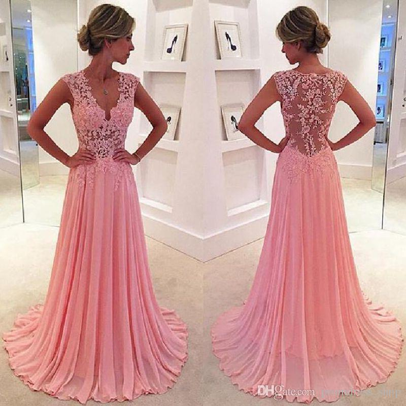 A Line Pink 2018 Prom Dresses Lace Formal Evening Dress With V Neck ...