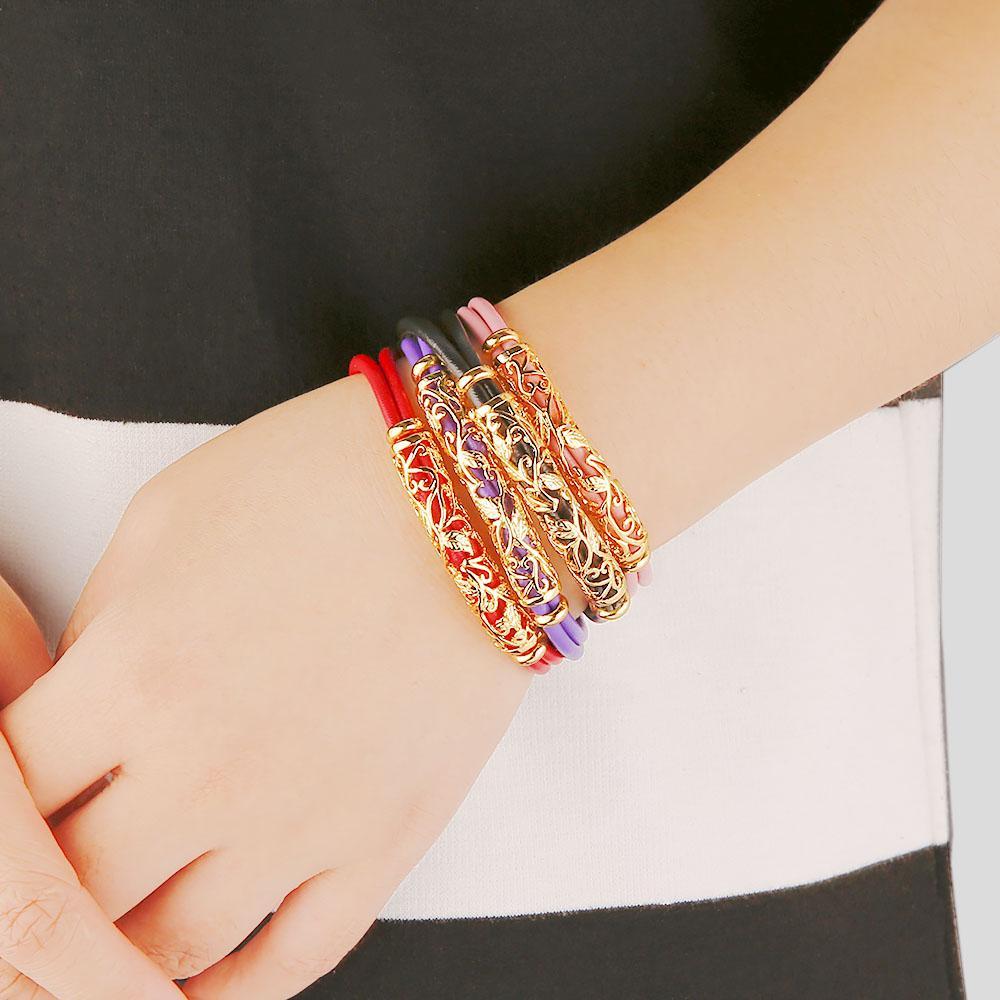 Oco flor encantos pulseiras pulseiras real genuína pele de carneiro pulseira de couro para as mulheres menina pulseira de jóias finas