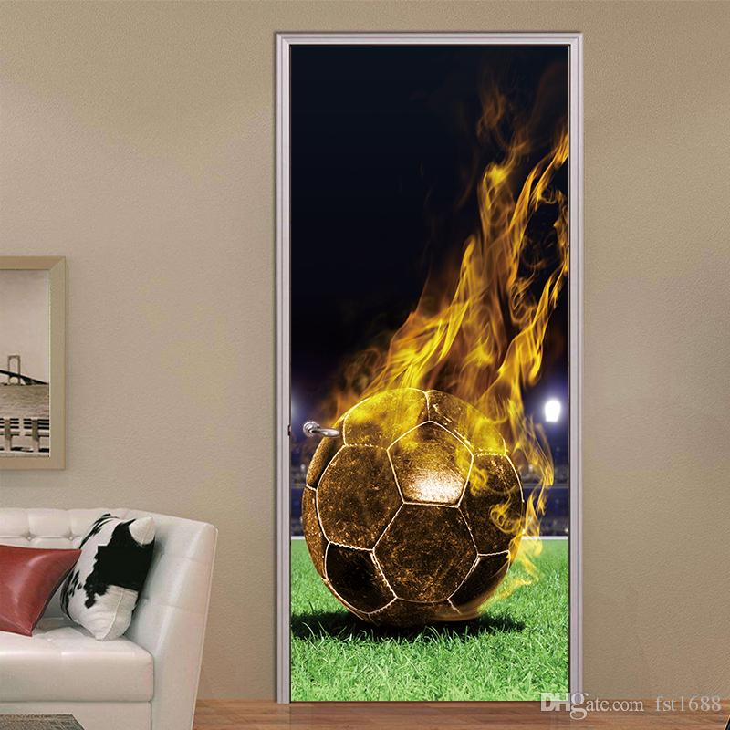 3d mural flying firing football creativw waterproof wall stickers