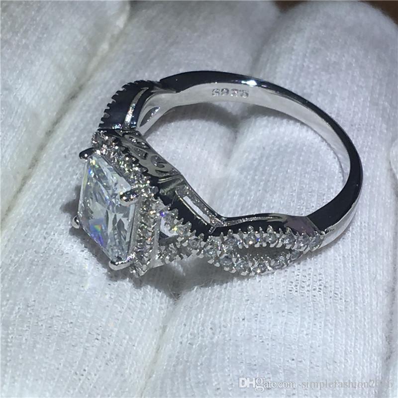 Fashion Princess cut 5A zircon Cz ring 925 Sterling Silver Engagement wedding band rings for women men Bijoux