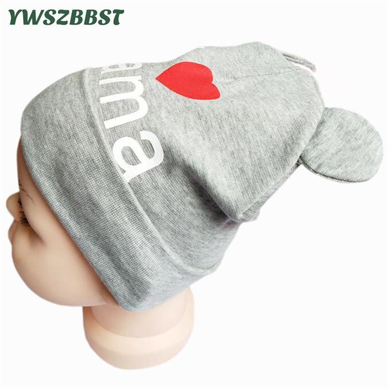 e8f6a4aeee38 2019 New Autumn Winter Crochet Children Hats I Love MAMA Soft Ear ...