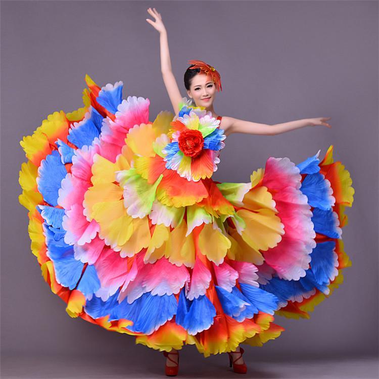 b9555ebb56e78f 720 degrés femmes costume de flamenco espagnol robe de danse corrida robe  longue flamenco fille robes rouges pour les filles l190