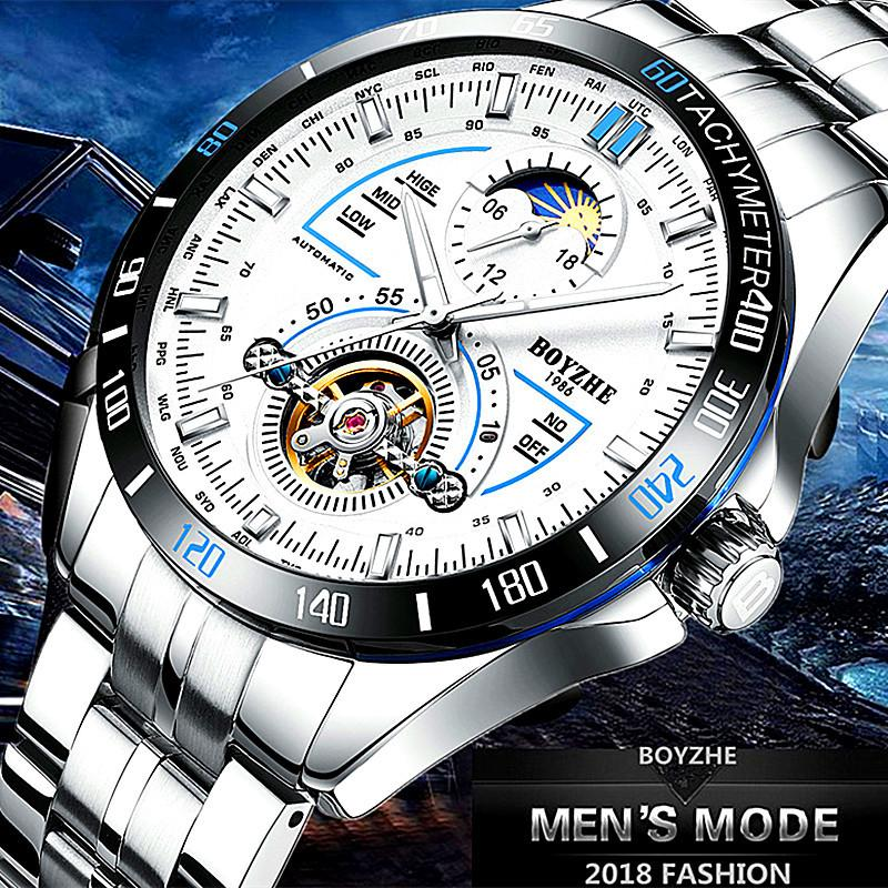 88fbfee42 Men Automatic Mechanical Sports Watch Fashion Casual Luminous Tourbillon  Moon Phase Stainless Steel Watches Relogio Masculino D18100706 Sale Watch  Online ...