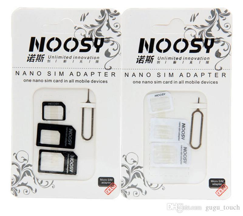 NOOSY Nano SIM Card to Micro SIM Card Standard Adapter Converter Eject Pin Set 4 in 1 For iPhone 4 4S Galaxy S4 S5 black and white