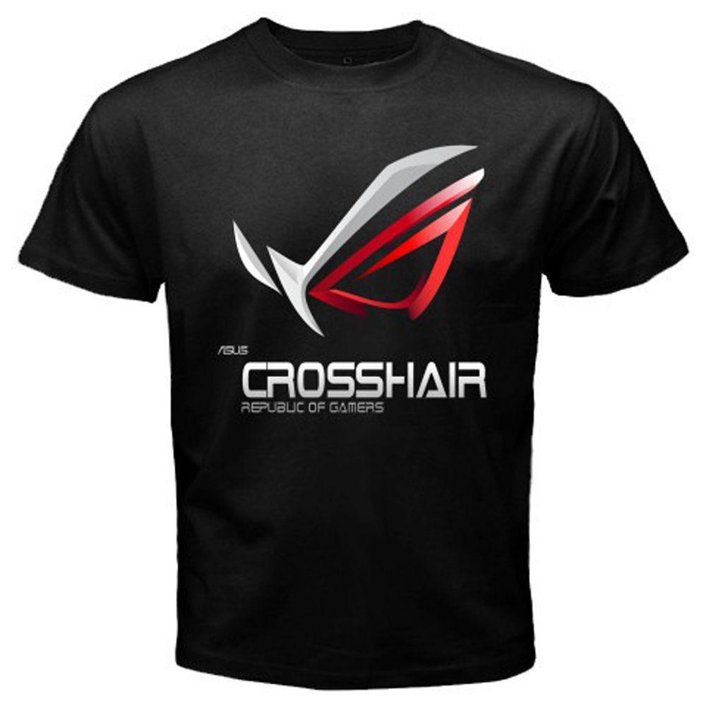 111698fb44 New ASUS Crosshair ROG Gamers Logo Men s Black T-Shirt Size S M L XL 2XL  3XLFunny free shipping Unisex Casual tee gift