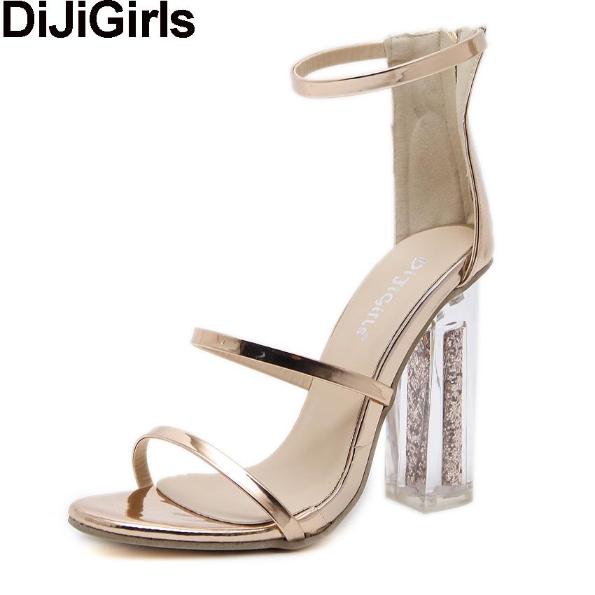 05b23de2fc54 DiJiGirls Latest Women Open Toe Strappy Ankle Strap Gold Sandals Crystal  Transparent Clear Block Thick High Heel Sequined Shoes Tall Gladiator  Sandals Tan ...