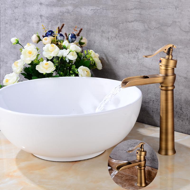 2019 Basin Faucets Antique Brass Waterfall Bathroom Vessel Sink