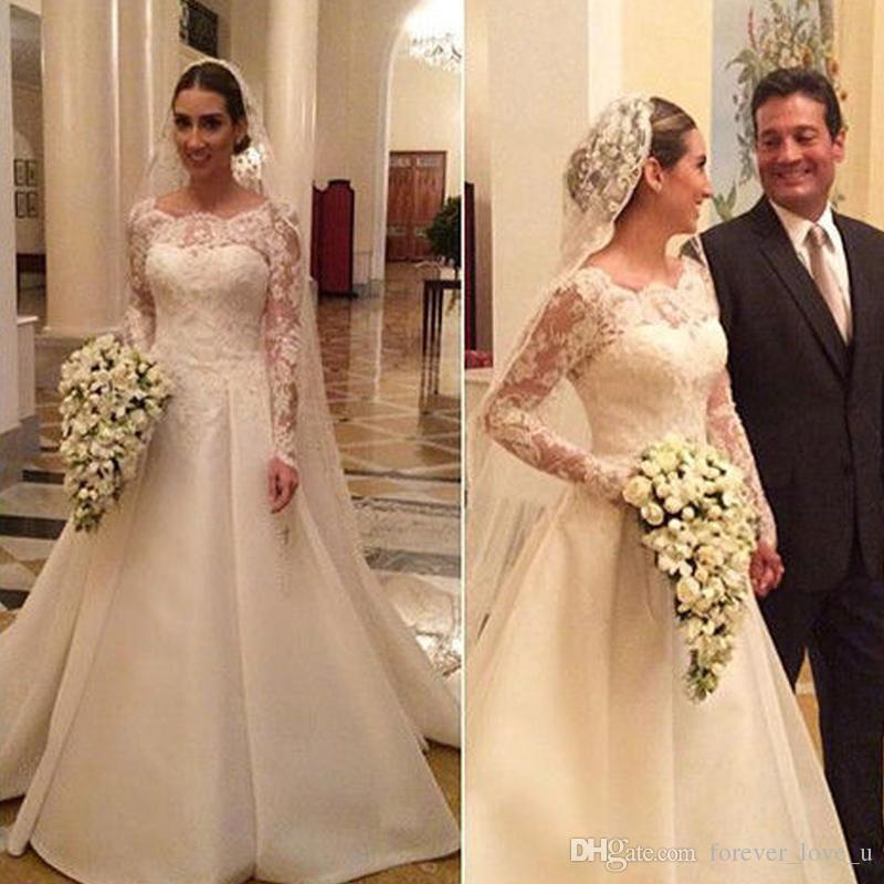 334303e647de7 Discount Modest Long Sleeve Wedding Dresses Sheer Bateau Neck Illusion Lace  Sleeves Appliques Top Satin Bridal Gowns With Train Custom Made Wedding Gown  ...