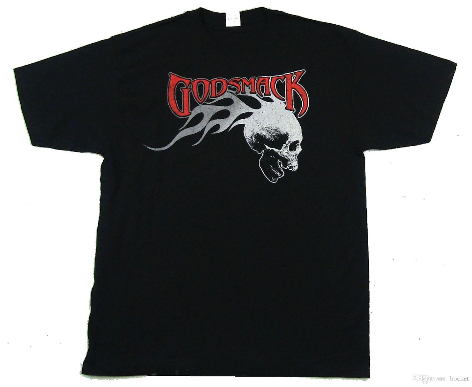 7866191a88 Godsmack Distressed Flame Skull Black T Shirt New Official Band Merch  Printing Tee Shirts Cool Funny T Shirts From Bocket, $11.25| DHgate.Com