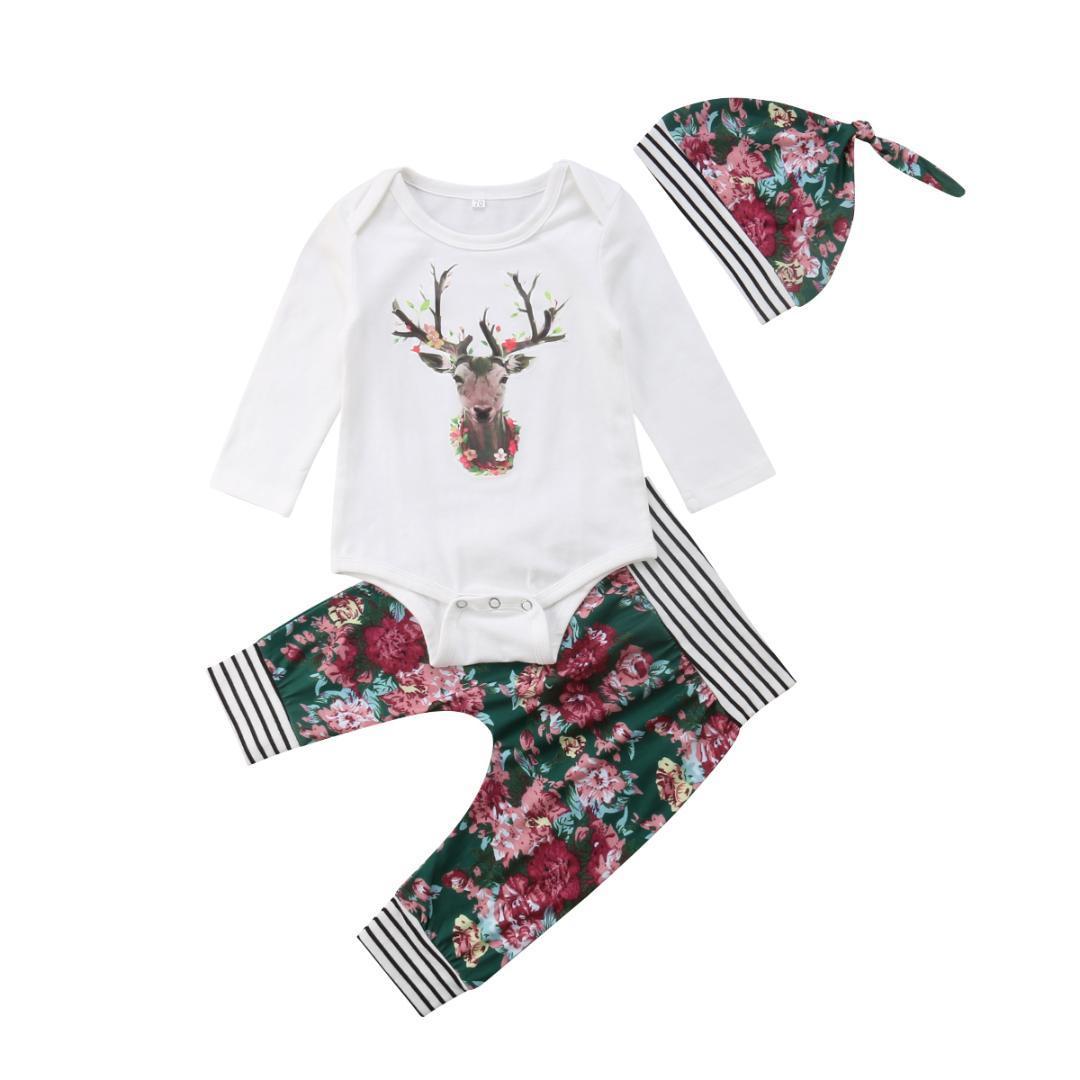 7135cee5ac806 Compre Conjunto De Ropa Recién Nacida De La Navidad Baby Boys Girl Deer  Body + Floral Pants + Hat 3 Piezas Conjunto De Trajes De Otoño Winter  Infant Baby ...