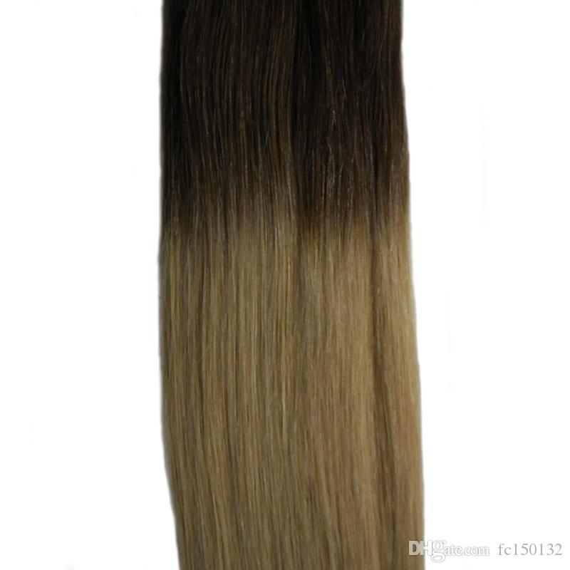 #2/Tape In Human Hair Extensions 100G Brazilian Straight Hair PU Ombre Tape In Human Hair Extensions T1B/grey #99J