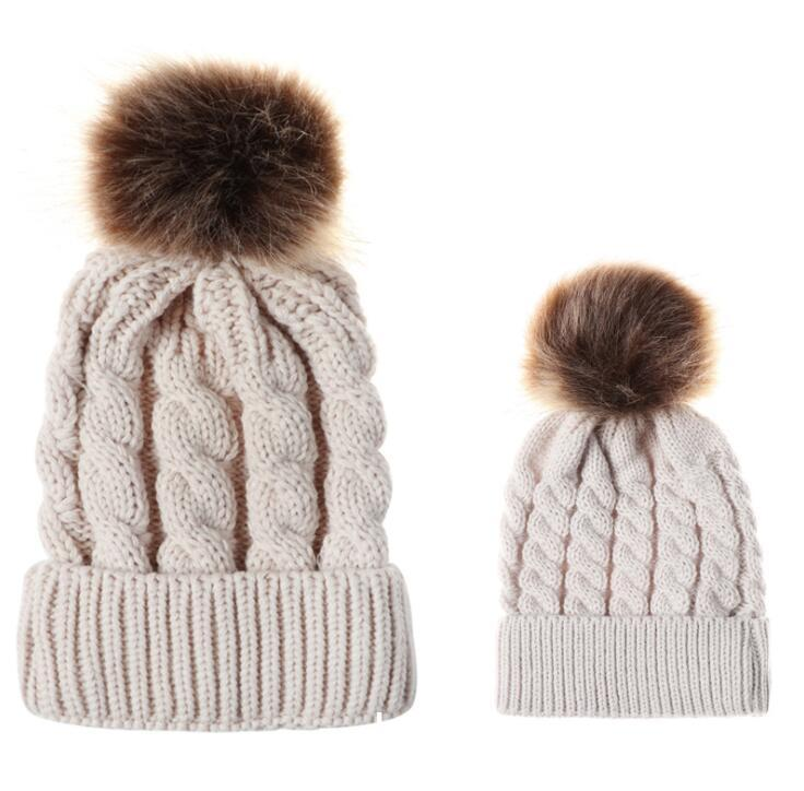 466bcfefc3712 Kids Girls Hats Mother Daughter Warm Knitted Hat Family Matching Children  Hats And Caps Winter Pompom Hat Beanie Caps KKA6008 Crochet Baby Hats  Ladies Hats ...