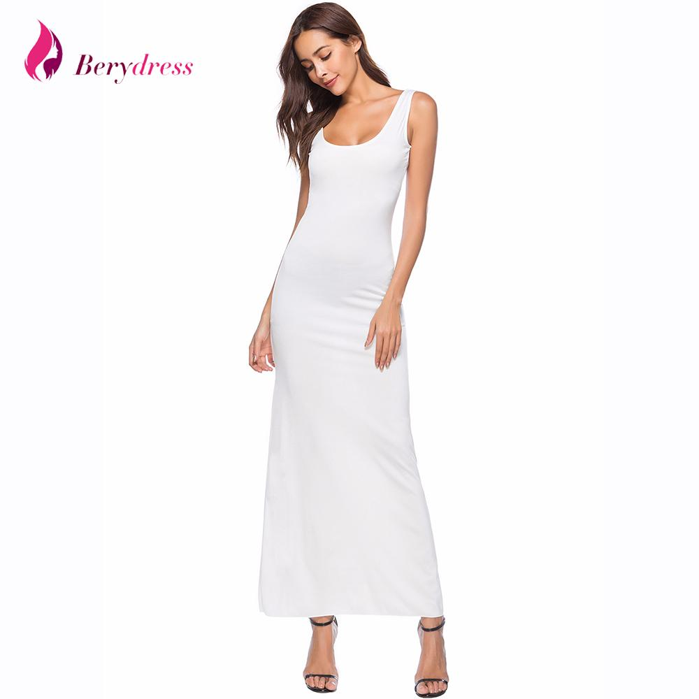 Sexy Maxi Dress 2018 Summer Style Square Neck Ankle Length Straight White Vestidos Sleeveless Plus Size Burgundy Womens Dresses