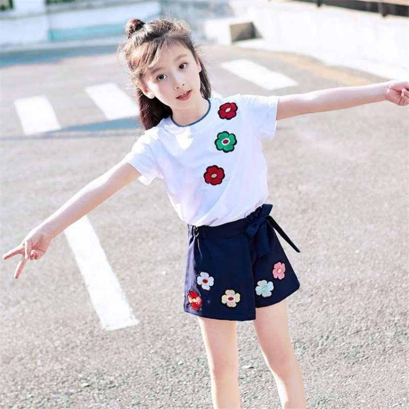 2aa27e5af48c2 Girls Summer 2018 Korean New Fashion Girls Set Girls Clothes 3-10 Children  Two-piece Tide