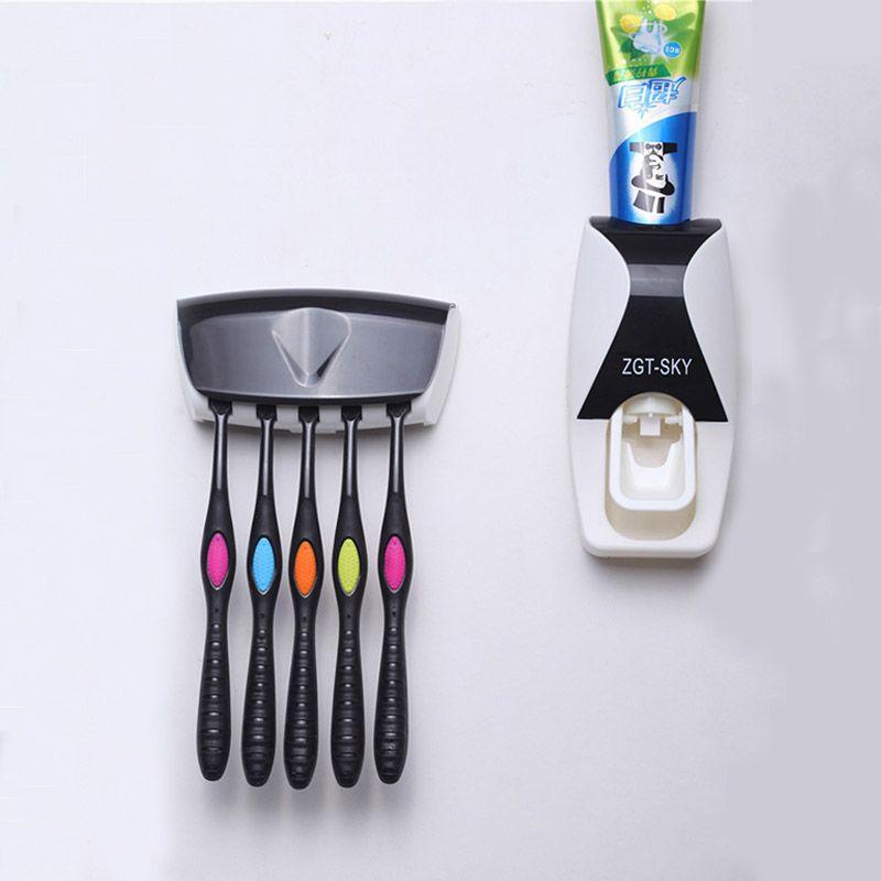 1set Fashion Automatic Toothpaste Dispenser 5 Toothbrush Bathroom Household Wall Mount Stand Bathroom Tools Hot Family Holder Home Storage & Organization Storage Shelves & Racks