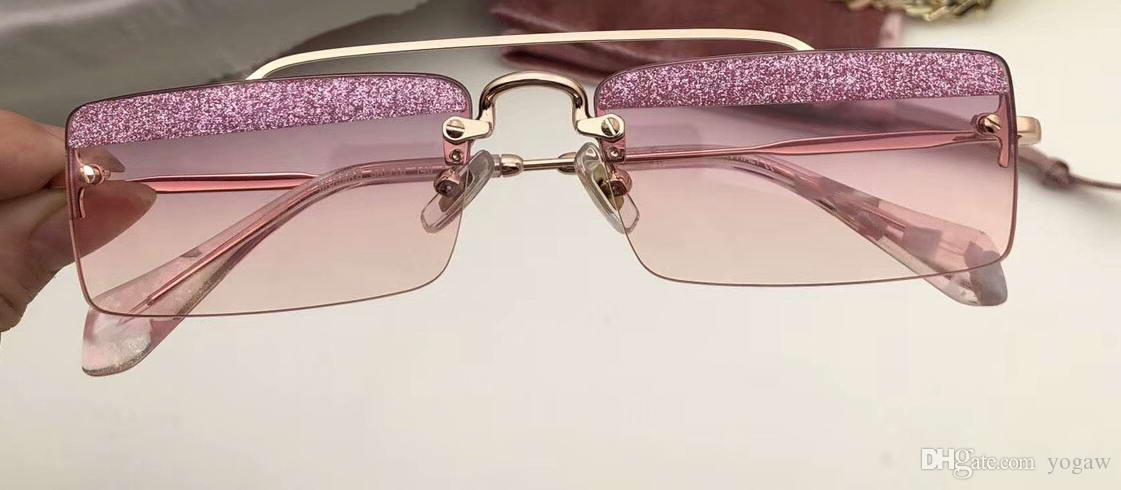5dcb09816e Women Designer Rectangle Sunglasses Gold  Pink Glitter Sonnenbrille MU59  Eyewear Summer Gafa De Sol Out Glasses New With Box Smith Sunglasses  Sunglasses At ...