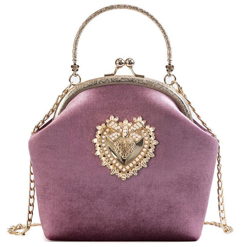 Female Velvet Pearl Handbag Vintage Velour Heart Design Evening Bag Wedding  Party Bride Clutch Velour Bag Purse High Quality For Women Ivanka Trump  Handbags ...