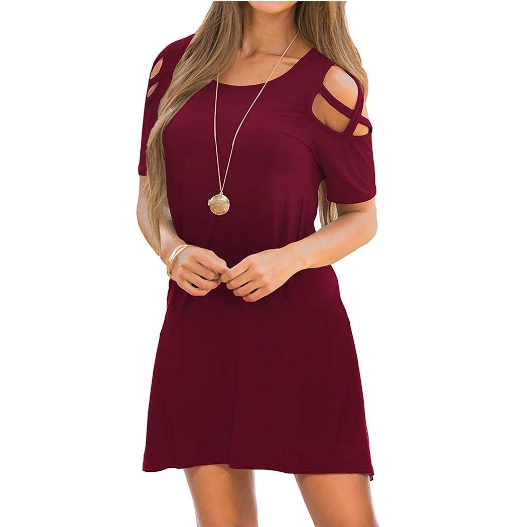 abfe2418d295 2019 Sexy Cold Shoulder Shirt Dress Women Summer Short Sleeve Loose Mini  Dress Casual O Neck Solid Color Sundress Robe Femme From Duanhu, $23.93 |  DHgate.