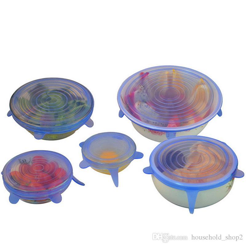 عالمي سيليكون تمتد تجهيزات المطابخ اغطية 6 قطع مجموعة متعددة الحجم سيليكون الغذاء التفاف وعاء وعاء غطاء غطاء أدوات المطبخ الطبخ