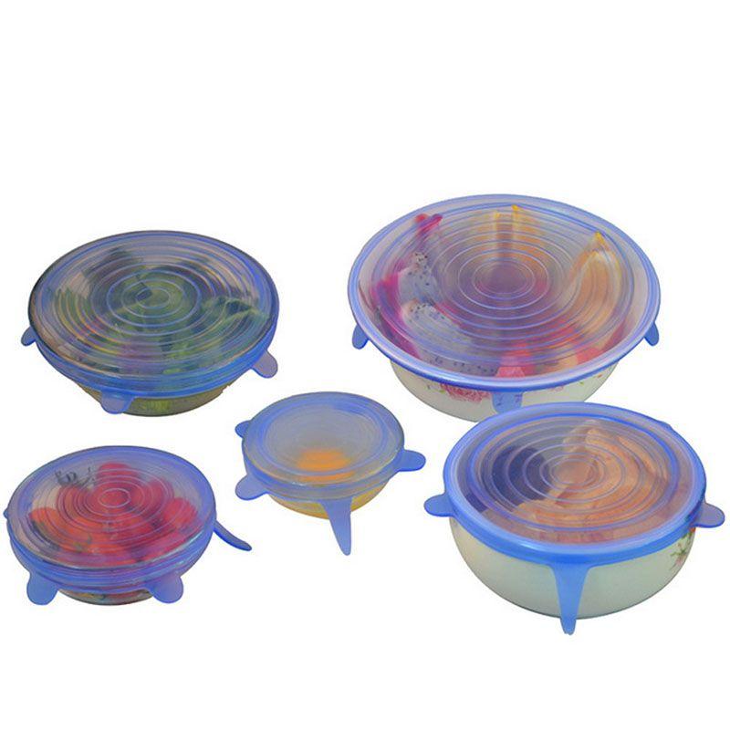 DHL Food Grade silício trecho de panelas tampas de silicone universal envoltório comida tigela panela tampa de silicone panela tampas de panela de Cozinha