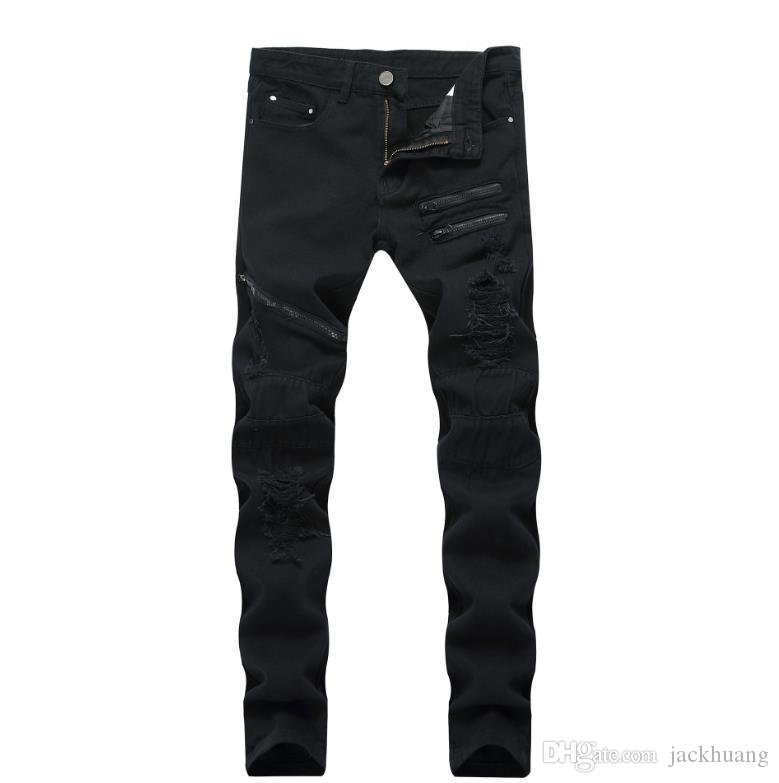 d7dc4925e69 2019 Black Runway Biker Jeans Men S Slim Distressed Elastic Denim Multi  Zipper Package Ripped Jeans Hiphop Trousers Size 42 From Jackhuang