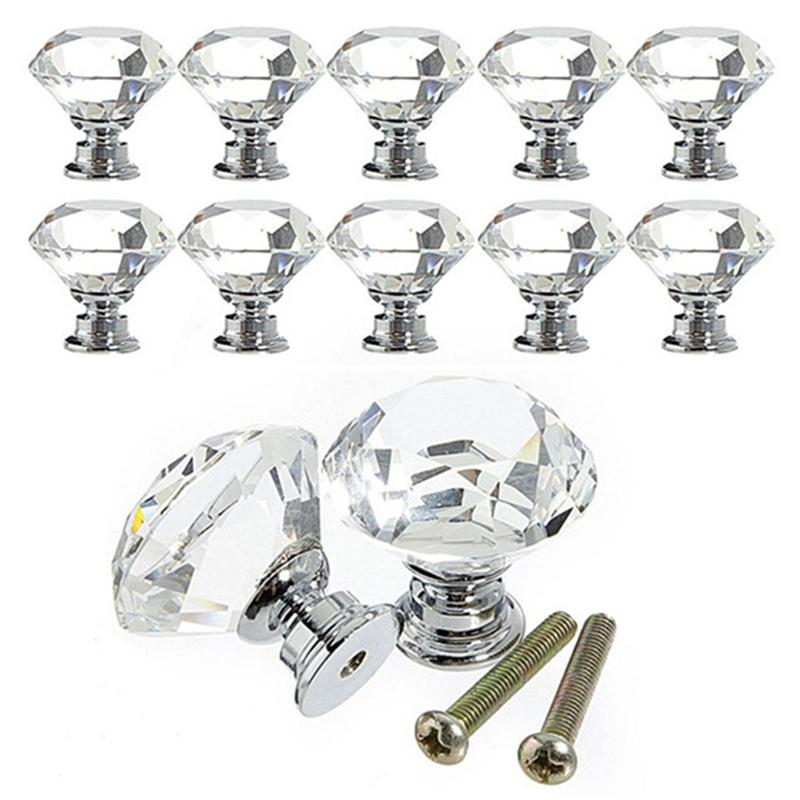 Cabinet Hardware Cabinet Pulls Dreld 5pcs 20mm Diamond Crystal Door Knob Furniture Handle Cabinet Knobs And Handle For Furniture Cupboard Kitchen Pull Handle