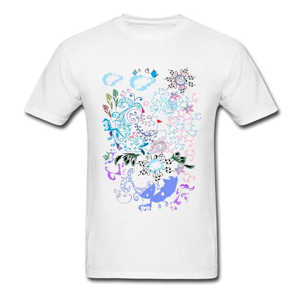 5f01d529bee86 Compre Daydream Linha De Design De Arte Dos Homens Camisa Branca De T Dos  Desenhos Animados Desenho Casual Família De Verão T Camisa De Algodão De  Fitness ...
