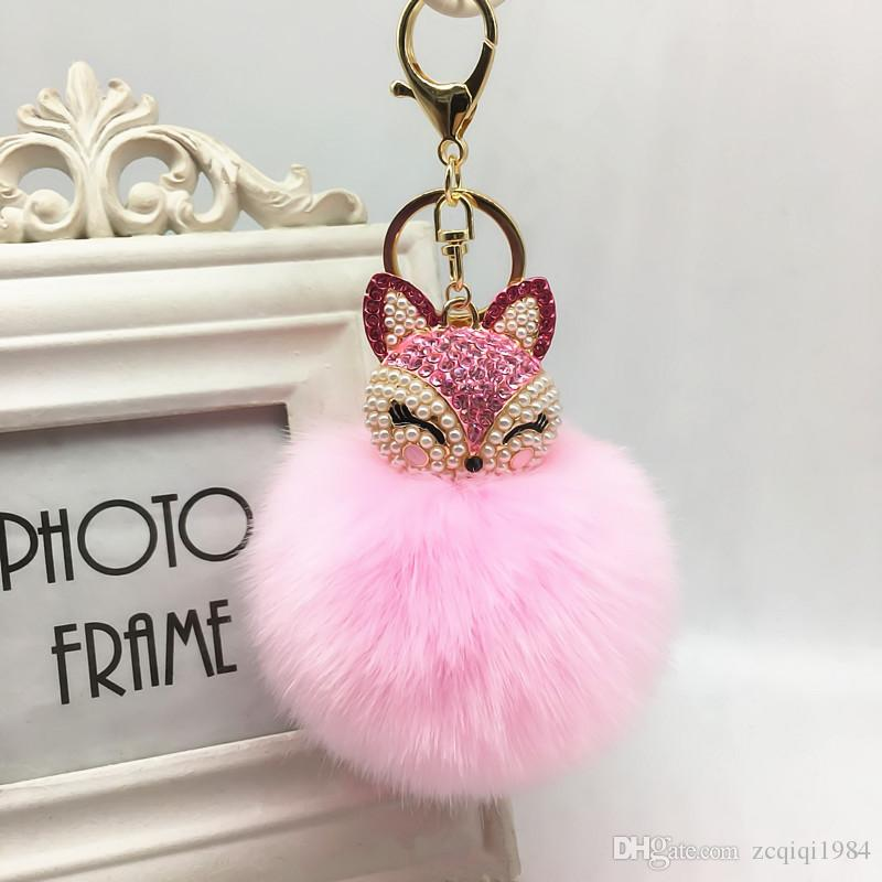 Renkli Fox Kürk Anahtarlık Inci ponpon Bunny Anahtarlık Tavşan kürk topu anahtarlık porte Charm Çanta anahtarlık