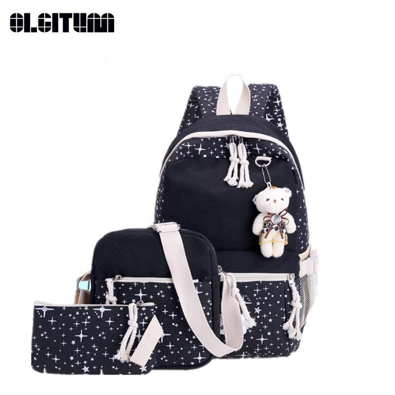 9ba220d07 New Canvas School Bags New Cute Bear Backpack Preppy Style Fashion ...