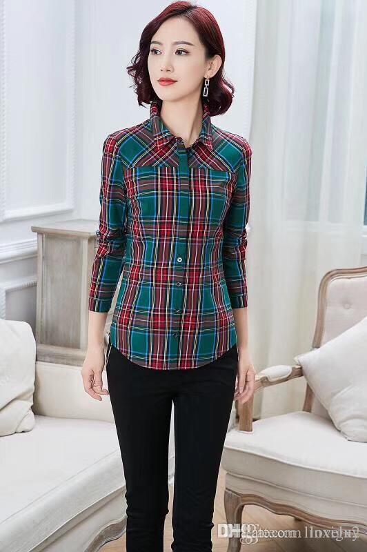 89bca53960 Camicia da donna a manica lunga scozzese in cotone a maniche lunghe  scozzese in cotone